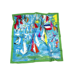 L'écharpe turquoise - Twill Silk scarf 90/90 cm