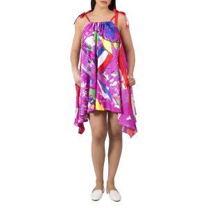 Rose Electrique Twill Silk Dress II - Mer a Porter