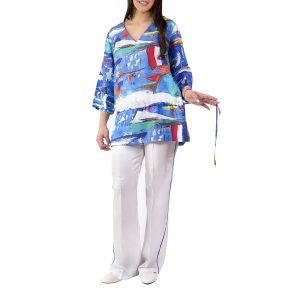 Ultramarine Twill Silk Blouse